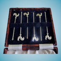 Vintage SP Rooster Cocktail Picks In Faux Tortoise Box England