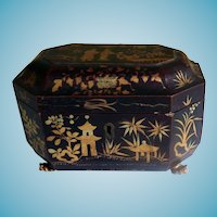 Antique Chinese Export Tea Caddy With Metal Inserts & Claw Feet