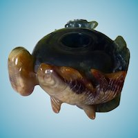 Chinese Hardstone Carved Inkwell Turtles & Fish
