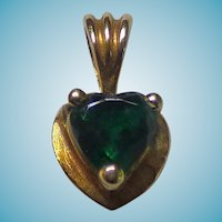 Sweet 10 Karat Emerald Heart Pendant