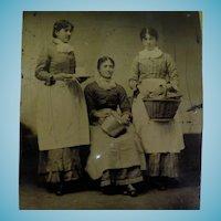 Occupational Tintype Three Maids