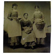 Occupational Tintype Three Maids