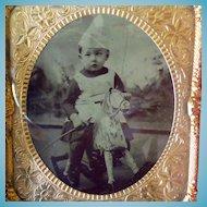 Cased 1/6 Plate Tintype Boy On Hobby Horse
