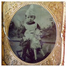 Cased 1/6 Plate Tintype Boy On Hobby Horse