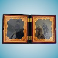 Double Image Union Case With Tintypes of Boys On Hobby Horses
