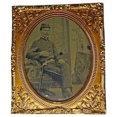 Civil War Union Sargent Tintype Union Case Double Image 1/6 Plate Case