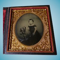 Girl On Rocking Horse Tintype Cased 1/6 Plate