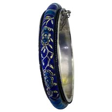 Vintage Chinese Sterling & Enamel Bangle Bracelet