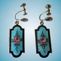 Art Deco Sterling Enamel Screw Back Earrings