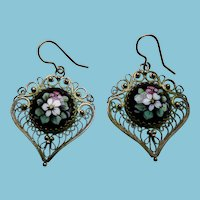 Vintage Persian Silver Earrings With Enamel Plaques