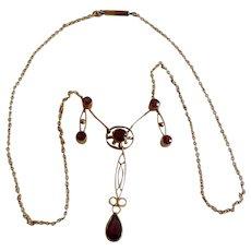 English Edwardian 9K & Garnet Festoon Necklace
