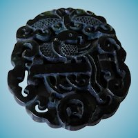 Chinese Black Stone Pendant Phoenix Bird