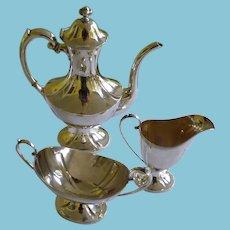 Sterling Silver 3 Piece Tea Set Art Deco