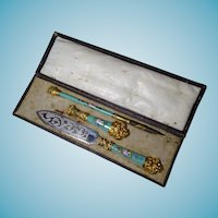 19thC Kiln Fired French Enamel 3 Piece Desk Set Original Box