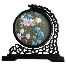Moon Framed Chinese Su Silk Embroidery Original Box