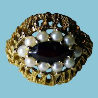 English Victorian 9K YG Garnet & Cultured Pearl Ring