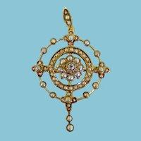 Victorian 9K Diamond & Seed Pearl Pendant/Brooch