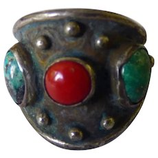 Sterling Coral & Turquoise Ring Southwestern Style