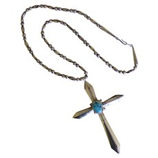 Native American Sterling & Turquoise Sand Cast Cross & Chain