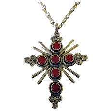 Native American Sterling & Coral Cross & Chain