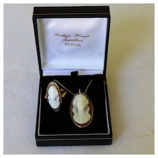 Antique 18K Cameo Pendant & Ring Front Facing On 14K Chain