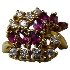 14K Diamond & Ruby Cocktail Ring