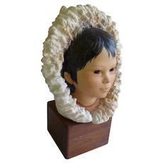 Cybis Porcelain Bust Eskimo Child Head with Snow Bunting