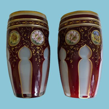 Pair Moser Cut To Clear Barrel Vases