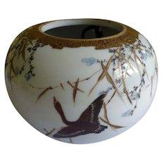 19th C Japanese Satsuma Hanging Planter Bowl