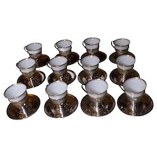 12 Sterling Demi-Tasse Cups & Saucers English Bone China Cups
