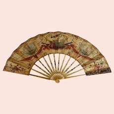 Early folding sequined hand painted folding fan with ship decor