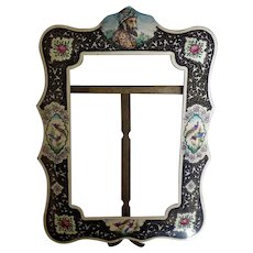 Early Persian or Indian Standing Enamel Picture Frame