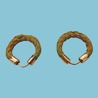 Victorian Hair Earrings, set  in 10k