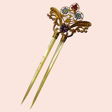 Victorian Enamel and Mother of Pearl Hair Comb