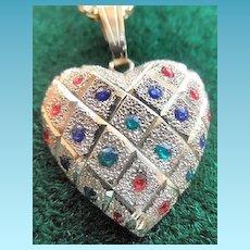 14k Heart Pendant With Gemstones/ Matching Earrings