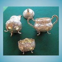 Antique Continental Silver (800) Three Piece Creamer Sugar & Waste Bowl Set