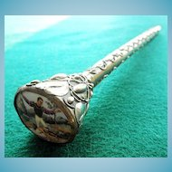 Unusual Silver Tone Parasol Handle With Porcelain Plaque