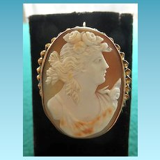Fine Large Cameo Brooch/Pendant Of Flora Set In 10K Yellow Gold