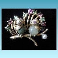 Glorious 10K YG Bird Brooch/Pin With Gemstones Circa 1910