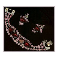 Ruby Red Fan-Shaped, Pink, AB Clear Chaton Rhinestone Demi Bracelet Earrings