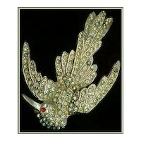 Art Deco Pot Metal and Pavé Paste Bird Brooch