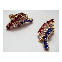 Weiss Patriotic Red, White, Blue Rhinestone Earrings
