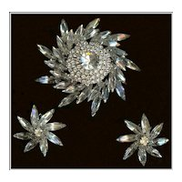 Weiss Sunburst Crystal Clear Navette and Chaton Rhinestone Demi Brooch Earrings
