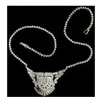 Art Deco Pot Metal and Paste Rhinestone Choker Necklace