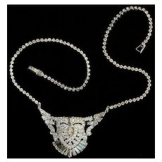 Art Deco Pot Metal and Paste Rhinestone Choker Necklace