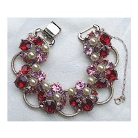 Faux Pearl, Ruby Red, Rosy Pink, Lavender Purple, Clear Rhinestone Chunky Link Bracelet