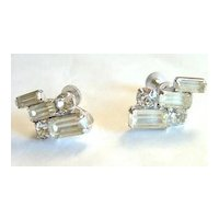 Duane Art Deco Style Clear Rhinestone Earrings