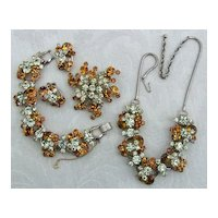 """Book Piece"" D&E Juliana Amber & Jonquil Rhinestone Grand Parure Necklace, Bracelet, Brooch, Earrings"