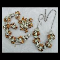 """""""Book Piece"""" D&E Juliana Amber & Jonquil Rhinestone Grand Parure Necklace, Bracelet, Brooch, Earrings"""
