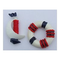 Red, White, Blue Plastic Boat and Float Pin Set